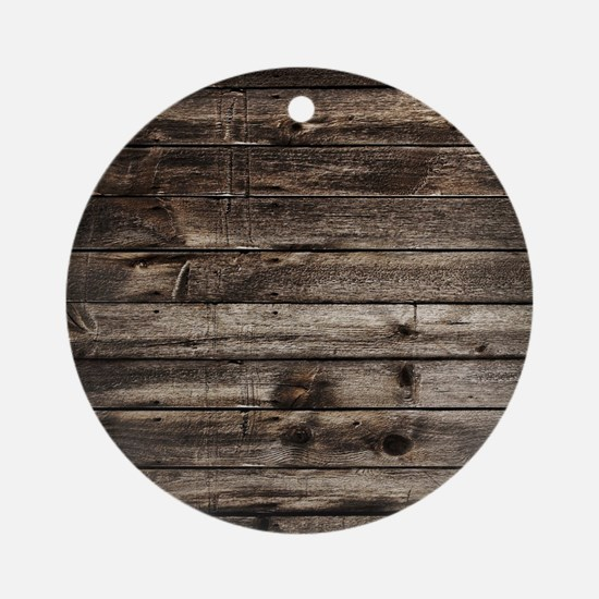 rustic primitive grey barn wood Round Ornament