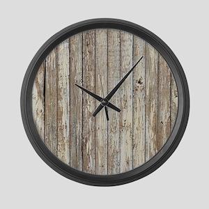 shabby chic white barn wood Large Wall Clock