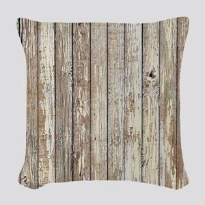 shabby chic white barn wood Woven Throw Pillow