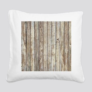 shabby chic white barn wood Square Canvas Pillow