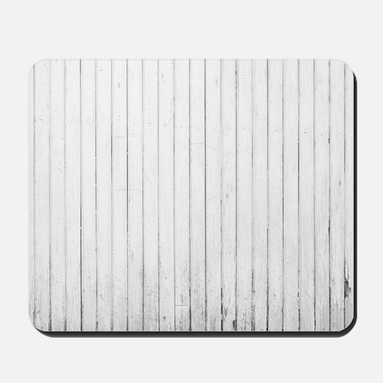 shabby chic white barn wood Mousepad