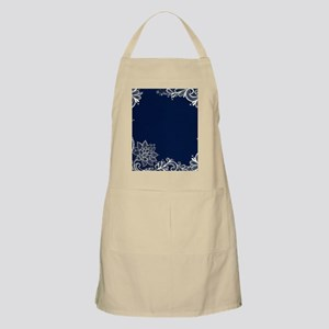 navy blue white lace Apron