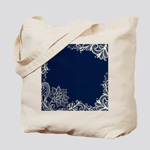 navy blue white lace Tote Bag