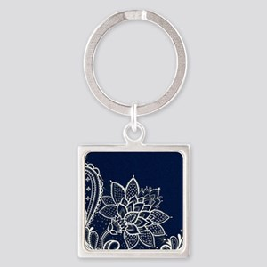 navy blue white lace Square Keychain