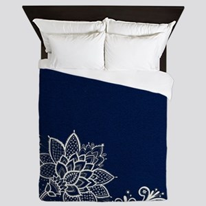 navy blue white lace Queen Duvet