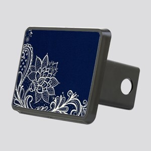 navy blue white lace Rectangular Hitch Cover