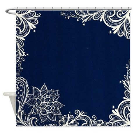 navy blue white lace shower curtain by listing store 62325139. Black Bedroom Furniture Sets. Home Design Ideas