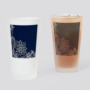 navy blue white lace Drinking Glass