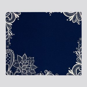 navy blue white lace Throw Blanket