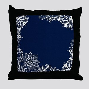 navy blue white lace Throw Pillow