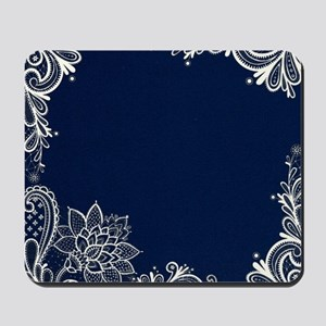 navy blue white lace Mousepad