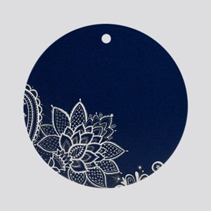 navy blue white lace Round Ornament
