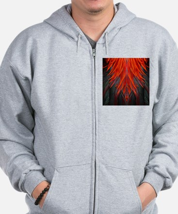 Abstract Feathers Zip Hoodie