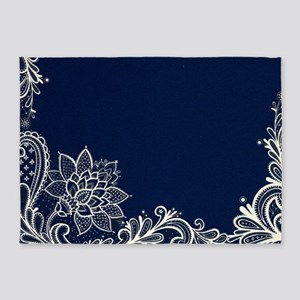 Navy Blue White Lace 5 X7 Area Rug