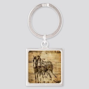 western country farm horse Square Keychain