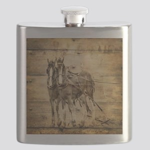 western country farm horse Flask