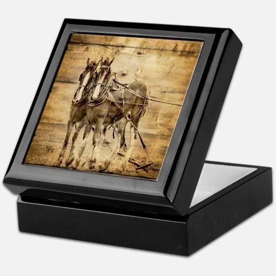 western country farm horse Keepsake Box
