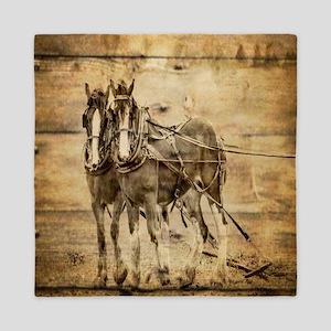 western country farm horse Queen Duvet