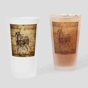 western country farm horse Drinking Glass
