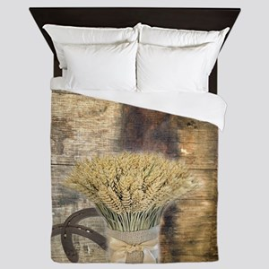 barn wood wheat horseshoe  Queen Duvet