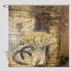 barn wood wheat horseshoe  Shower Curtain