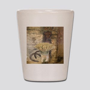 barn wood wheat horseshoe  Shot Glass