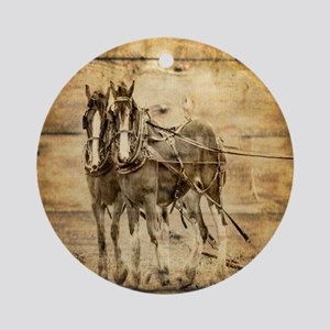 western country farm horse Round Ornament