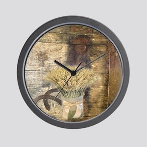 barn wood wheat horseshoe  Wall Clock