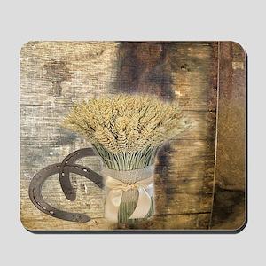 barn wood wheat horseshoe  Mousepad
