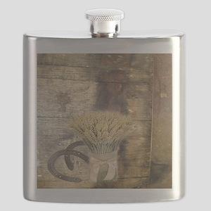 barn wood wheat horseshoe  Flask