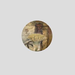barn wood wheat horseshoe  Mini Button
