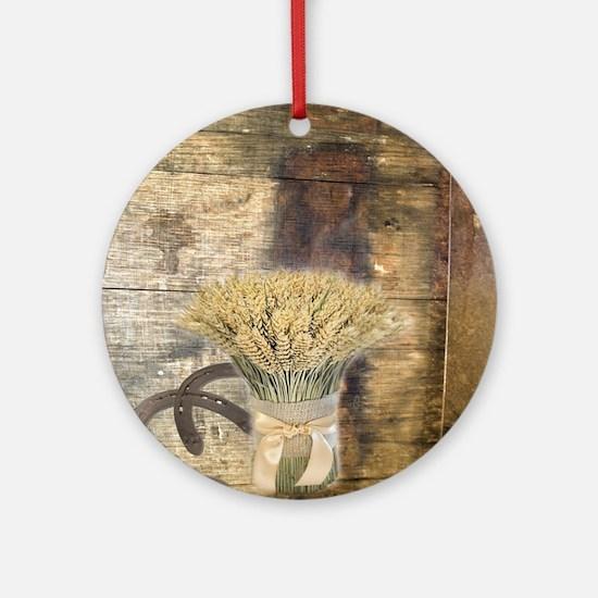 barn wood wheat horseshoe  Round Ornament