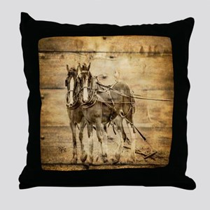 western country farm horse Throw Pillow