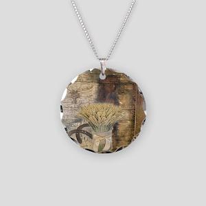 barn wood wheat horseshoe  Necklace Circle Charm
