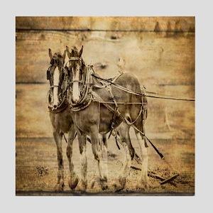 western country farm horse Tile Coaster
