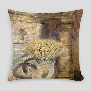 barn wood wheat horseshoe  Everyday Pillow