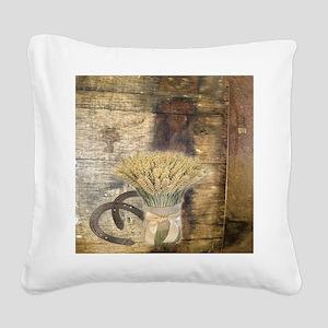 barn wood wheat horseshoe  Square Canvas Pillow