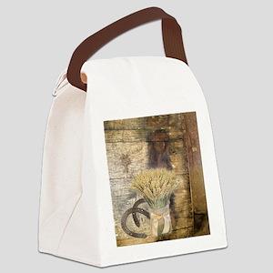 barn wood wheat horseshoe  Canvas Lunch Bag