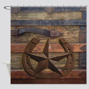 western horseshoe texas star Shower Curtain