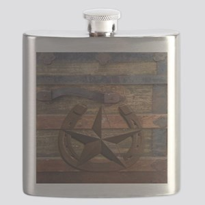 western horseshoe texas star Flask