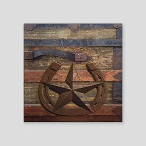 "western horseshoe texas sta Square Sticker 3"" x 3"""