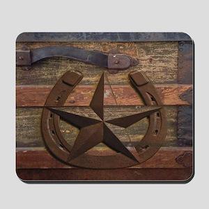 western horseshoe texas star Mousepad