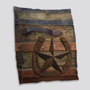 western horseshoe texas star Burlap Throw Pillow