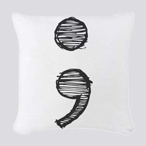 Semi Colon (Handdrawn) Woven Throw Pillow