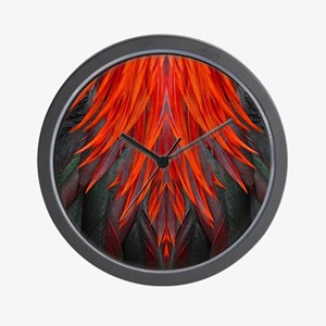 Abstract Feathers Wall Clock
