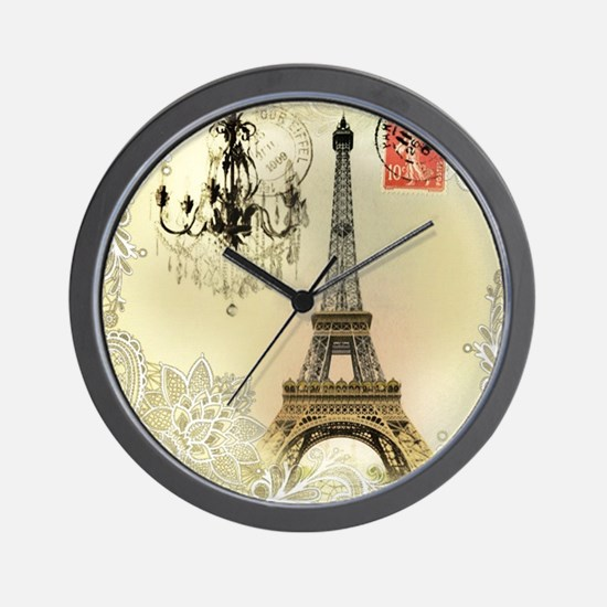 girly lace paris eiffel tower Wall Clock