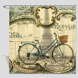 eiffel tower paris bike Shower Curtain
