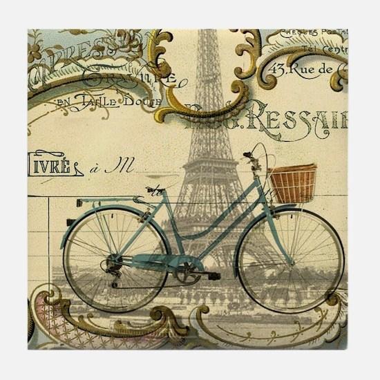 eiffel tower paris bike Tile Coaster