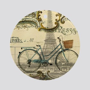 eiffel tower paris bike Round Ornament