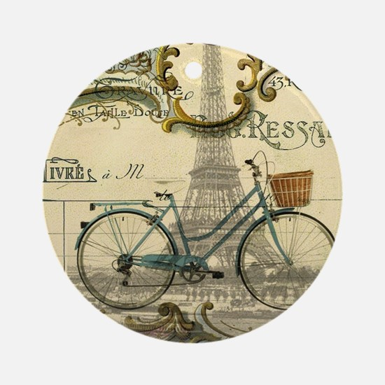 eiffel tower paris bike Round Ornament
